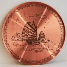 Gorgeous Serving Tray Copper Ancient Ocean Sailing Boat Meandros Meander Vintage