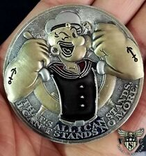 """POPEYE BLUTO I CAN'T STANDS NO MORE 2"""" 3D FLIP CHALLENGE COIN"""