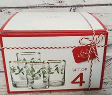 New LENOX  Holiday Whiskey Glasses - Set Of 4 - Retail $80 Christmas Cup