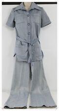 Vtg 1950s Leisure Pant Suit Blue/white Pinstripes Womens Sz 10