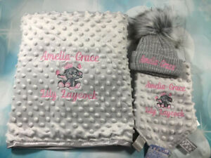 Personalised Grey Baby Minky Blanket, Taggie And Hat Set. Baby Girl