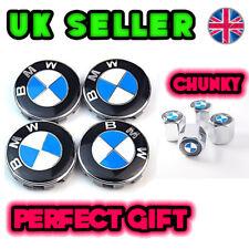 BMW ALLOY WHEEL CENTRE HUB CAPS + CHUNKY Valve Dust Caps ! Series 1 2 3 5 M