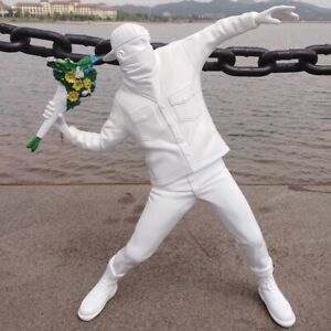 Banksy Flower Bomber British Street Art Sculpture Resin Figurine Ornament Statue