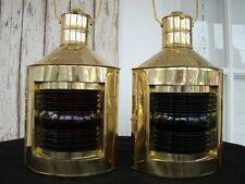 Brass Port & Starboard Lanterns ~ Set of 2 ~ Ship Oil Lamps ~ Nautical Light