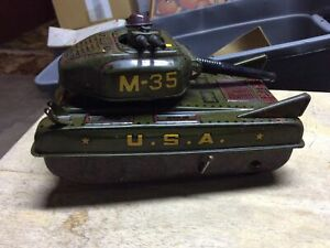 Antique Vintage Marx Tin Battery Operated Armored Tank M-35 U.S.A. Toy