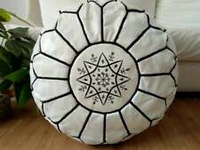 Leather white Pouf with Black Stitching Moroccan handmade Unstuffed footstool