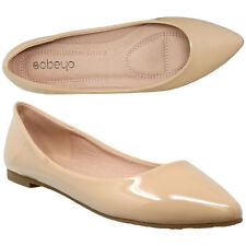 Womens Ballet Flats Patent Leather Pointed Toe Slip On Closed Toe Flat Shoes