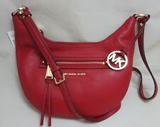 MICHAEL KORS Rhea RED Leather Zip Small Messenger Shoulder Crossbody Handbag