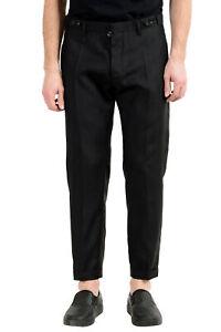 "Dsquared2 Men's ""London"" Black Silk Wool Flat Front Dress Pants US 32 IT 48"