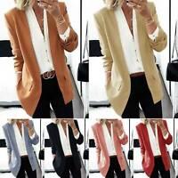 Women Long Sleeve Slim Fit Blazer Suit Coat Casual OL Work Jacket Formal Outwear
