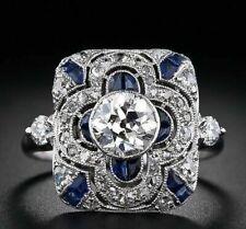 Cz Engagement Unique 925 Sterling Silver Ring Art Deco Vintage 1.36 Ct Round Cut