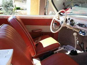 VW KARMANN GHIA SEDAN, ORIGINAL SEAT UPHOLSTERY FRONT/REAR 1956-60, BRICK RED