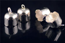 20Pcs Silver Charms Bead End Cap Stopper Fit 9mm Cord Leather DIY Craft Makings