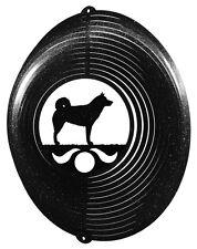 Norwegian Elkhound Dog BLACK Metal Swirly Sphere Wind Spinner *NEW*