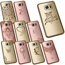 Slim Crystal Chrome Edge Bling Diamante Rhinestone TPU Silicone Phone Case Cover Samsung Galaxy S7 Love Heart Rose Gold