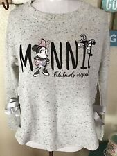 Disney Parks Minnie Mouse long sleeve knit shirt size xs gray nwt