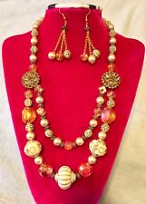 Beautiful Handmade Beaded Rhinestone Pearl Amber,Beige Necklace Earrings Set Big