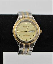 ELGIN II Men's Water Resistant Silver Gold Tone Watch w/ Flex Band Day Date