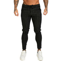 GINGTTO Men Skinny Fit Chino Black Striped Stretch Slim Dress Chinos Trousers