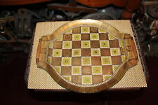 Vintage Georges Briard Glass Serving Tray Sun Moon Checkerboard Design Wood Hand