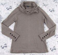 Lilla P Beige Cotton Cashmere Raglan Cowl Neck Tunic Sweater knit top Medium M