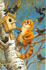 FRIENDLY RED CAT TOOK CARE ABOUT WOODEN BIRD HOUSE Modern Russian card