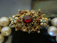 Vintage Glamor Faux Pearl 2 Strand Glass Bead Necklace Jeweled Rhinestone Clasp!