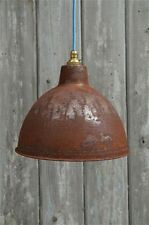 Rusty steel vintage style barn lamp workshop ceiling light shade RS1G3