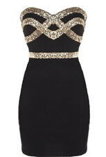 NWT ASOS DESIGNER BLACK GOLD STRAPLESS SEQUIN BODYCON PARTY DRESS XS S M L