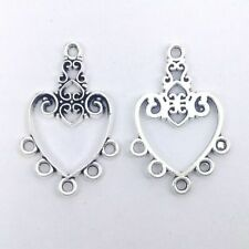 10pcs 5 Pairs Tibetan silver connectors earring chandeliers plain round 19x14mm