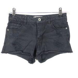 ZARA Bermuda Shorts Destroyed Schwarz Gr. 140