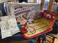 Vintage Marx Allstar Marx-O-Matic Tin Basketball Game w/ Box And Instructions