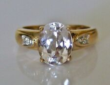 Beautiful 9ct Gold Kunzite & Diamond Ring Size K