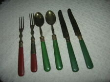 6pc Antique Child's Flatware Brass Gold Wash Bakelite Handles B. Altman France