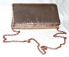 La Regale Gold Mesh Clutch Evening Bag with Fold In Crossbody Chain Strap