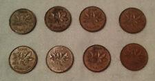 Lot of 8 Canada Pennies - 1956, 58, 61, 62, 63, 64, 65, 70