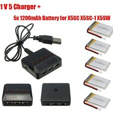 5 in 1 Charger+5PCS 3.7V 1200mAh Lipo Battery Pack For Syma X5C-1 X5SC X5SW X1