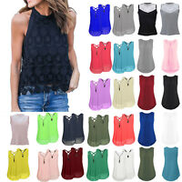 Women Summer Chiffon Lace Sleeveless Vest T Shirt Blouse Ladies Casual Tank Top