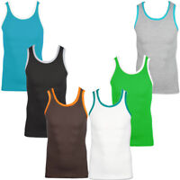 Raiken Basic Contrast Trim Ribbed Vest Top  Mens Size