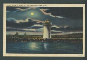 Ca 1925 Post Card Lake Cobbosseecontee ME Maine Lighthouse At Night