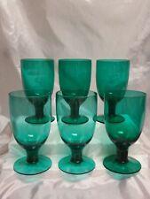"Vintage 6 Beautiful Italian Teal Blown Glass Water/Wine Goblet 7"" Tall"