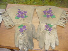OLD YAKAMA PLATEAU INDIAN EMBROIDERED HIDE GAUNTLET GLOVES
