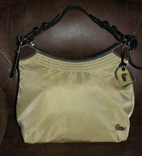 Dooney & Bourke Hobo Nylon Suede Shoulder Bag Beige