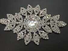 Rhinestone Diamante Applique Sew on Motif Wedding Silver Crystal Patch A68
