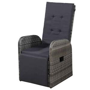 Reclining Garden Armchair Rattan Outdoor Recliner Grey Cushioned Patio Chair