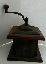 Vintage Ornate Cast Iron & Wood Coffee Grinder