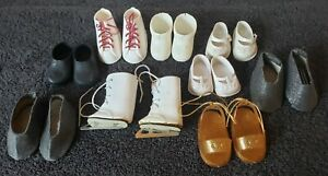 Lot Of 9 Pair Of Vintage Assorted Sizes Of Doll Shoes and 1 pair of Ice Skates