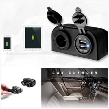 Styling Dual USB Car Charger Cigarette Lighter Power Socket Two Hole Tent Base