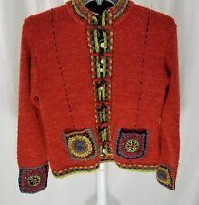 Icelandic Design Beaded Wool Alpaca Mohair Blend Knitted Cardigan Sweater Med