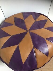 Vintage Leather Moroccan Pouffe - Purple Tan